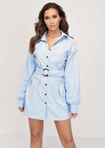 Tie Waist Belted Button Through Shirt Dress Blue