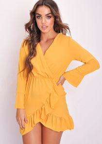Long Flare Sleeve Frill Hem Wrap Dress Yellow
