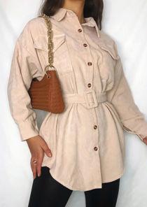 Long Line Front Pockets Belted Corduroy Long Sleeve Shacket Beige