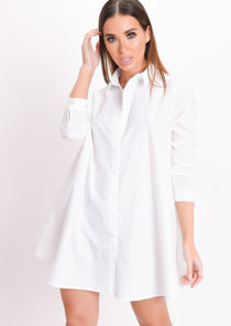 Long Sleeve Button Down Flare Shirt Dress White