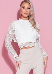 Long Sleeve Crochet Lace Crop Top Blouse White