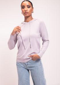 Long Sleeve Knit Hoodie Jumper Purple