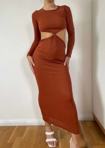 Long Sleeve Knotted Side Cut Out Maxi Dress Brown