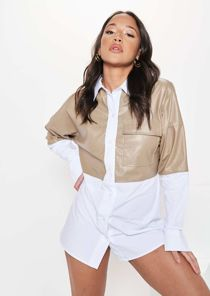Long Sleeved Collared Button Down Half Pu Shirt Top Brown