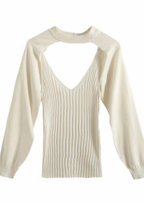 Long Sleeves Strappy Tank Top Two Piece Loungewear Set White
