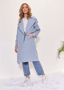 Oversized Longline Collared Buckle Belted Waist Trench Coat Blue