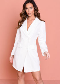 Longline Double Breasted Blazer Dress White