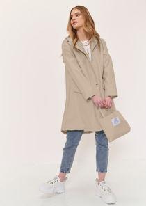 Oversized Longline Waterproof Rain Mac Coat Beige