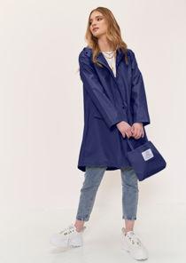 Oversized Longline Waterproof Rain Mac Coat Blue