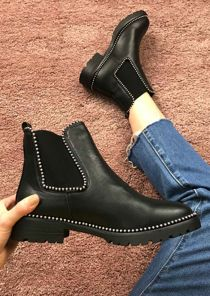 Faux Leather Low Chunky Studded Chelsea Ankle Boots Black