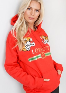 Loyalty Tiger Slogan Hooded Jumper Loungewear Red