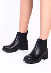 Platform Cleated Heel PU Chelsea Ankle Boots Black