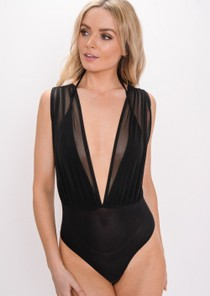 Mesh Plunge Sleeveless Bodysuit Black