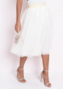 Mesh Tulle Midi Skirt Cream