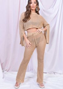 Metallic Crochet Top And Trouser Co Ord Set Gold