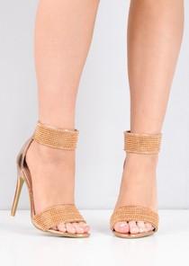 Diamante Embellished Ankle Strap Heels Rose Gold