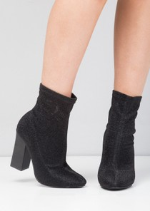 Metallic Glitter Stretch Sock Ankle Boot Black