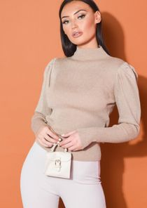 Metallic Ribbed Knit High Neck Jumper Top Beige