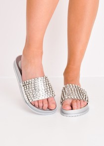 Metallic Studded Strap Sliders Silver