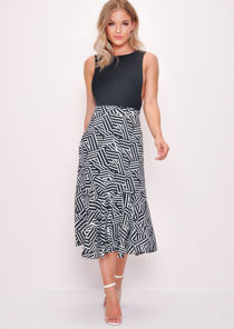 Midi Trumpet Skirt Black And White Pattern Multi