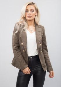 Military Style Tailored Blazer Jacket Khaki