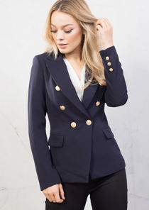 Tailored Military Style Blazer Jacket Navy Blue