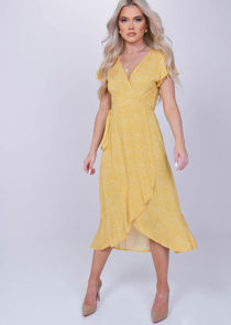 Wrap Front Floral Print Ruffle Hem Midi Dress Yellow
