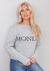Monday Slogan Knitted Jumper Grey