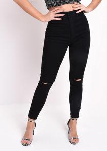High Waisted Knee Ripped Tube Super Skinny Jeans Black