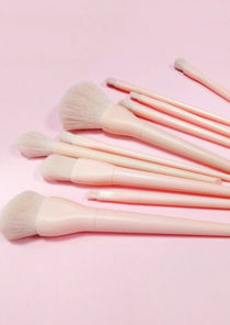 Monochromed 10 Set Pouched Makeup Brushes Pink