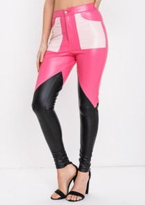 Multi Colour PU Trousers Pink
