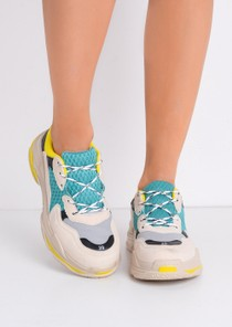 Multi Panel Chunky Trainers Beige Yellow