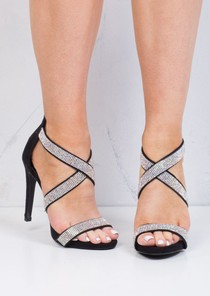 Multi Straps Diamante Heeled Sandals Black