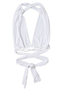 Multiway Elasticated Front Back Tie Wrap Over Crop Top White