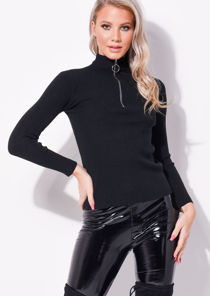 Zip Up High Neck Ribbed Jumper Top Black