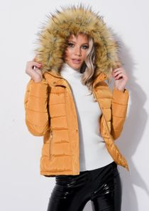 Padded Faux Fur Hooded Quilted Puffer Coat Yellow