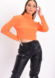 Neon Roll Neck Long Sleeve Knit Crop Top Orange