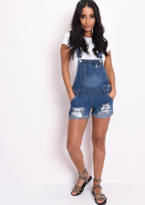 Ripped Detail Denim Dungaree Shorts Blue