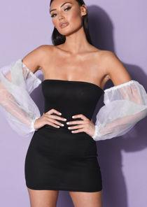 Off Shoulder Organza Puff Long Sleeve Mini Bodycon Dress Black