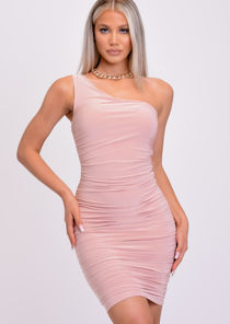 One Shoulder Ruched Bodycon Mini Dress Pink