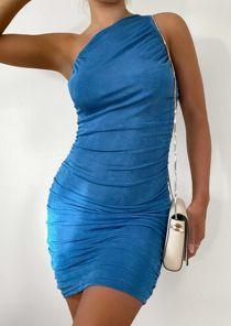 One Shoulder Ruched Slinky Mini Dress Blue