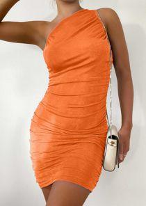 One Shoulder Ruched Slinky Mini Dress Orange