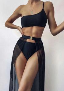 One Shoulder Strap Bandeau Bikini Wrap Over Skirt Bottom Three Piece Set Black