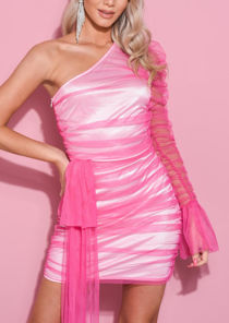 One Shoulder Tulle Drape Mini Mesh Dress Fuchsia Pink