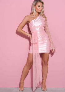 One Shoulder Tulle Drape Mesh Mini Dress Pink