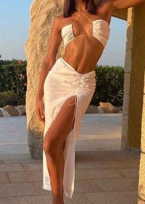 Open Front Side Split Bandeau Bikini Top Maxi Skirt Co Ord Set White