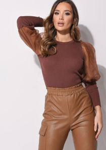 Organza Mesh Puff Long Sleeve Knitted Top Brown