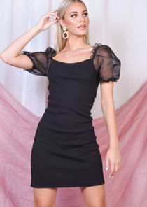 Organza Puff Short Sleeve Mini Bodycon Dress Black