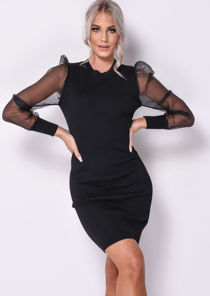 Organza Puff Sleeve Midi Knitted Jumper Dress Black