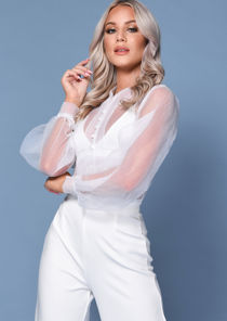 Organza Puff Sleeves Button Front Shirt Blouse White